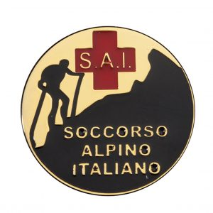 targa soccorso alpino Italiano su spilla - Center Tecnica