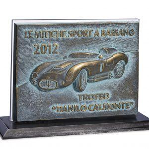 Trofeo composto da piastra in fusione di bronzo con ossidazione naturale Center Tecnica