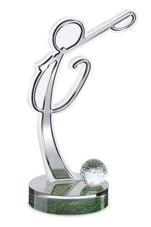 Trofeo golf alluminio lucido pallina golf vetro base trasparente Center Tecnica