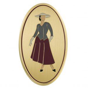 Targa albergo ovale ottone satinato bordo lucido figura di donna