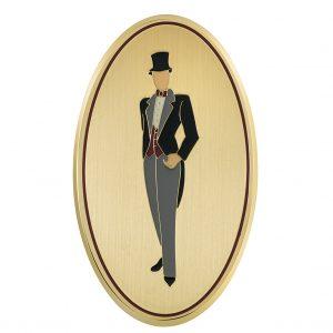 Targa albergo ovale ottone satinato bordo lucido figura di uomo