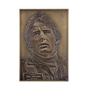 Targa in ottone realizzata mediante fresatura tridimensionale su grafica in scala di grigi fondo brunito con rilievi schiariti